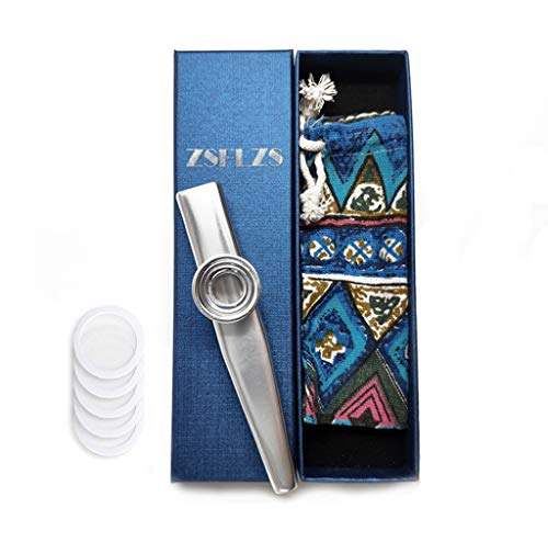 Metal Kazoo with A Beautiful Gift Box, Mini Musical Instrument for Kids And Adults (Silver)
