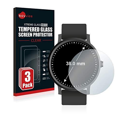 Savvies Panzerglas kompatibel mit Armbanduhren (Kreisr&, Durchmesser: 38 mm) (3 Stück) - Echt-Glas, 9H Festigkeit, Anti-Fingerprint