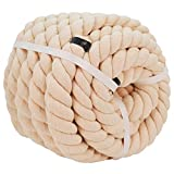 Cotton Rope (1.25 Inch x 32 Feet) Natural Thick Strong Rope for Sports Tug of War, Decor Crafts, Landscaping, Railings, Hammock, Home Decorating