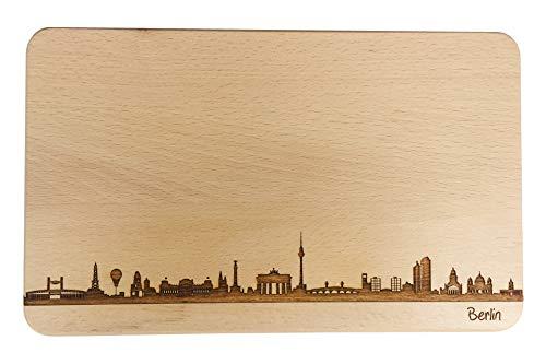 Brotzeitbrett Berlin Skyline | Frühstücksbrettchen aus Buche | Holz Schneidbrett | Geschenk mit Gravur | Frühstücksbrett (Standard (22x14x1cm), ohne persönlicher Gravur)