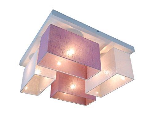 Deckenlampe - HausLeuchten JLS45WELID - 11 Varianten, Sockel 45 x 45 cm, Massivholz, Deckenleuchte, Leuchte, Lampe, 4-flammig (WEIß/LILA)