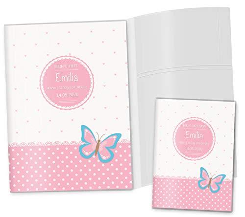 U-Heft Hülle 3-teilig Set rosa Herzchen Untersuchungsheft Hülle & Impfpasshülle schöne Geschenkidee personalisierbar mit Namen und Geburtsdatum (U-Heft Set 3-teilig personalisiert, Schmetterling)