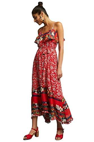 Anthropologie Zuri Red Chiffon Floral Ruffle Spaghetti Strap Midi Dress – Large
