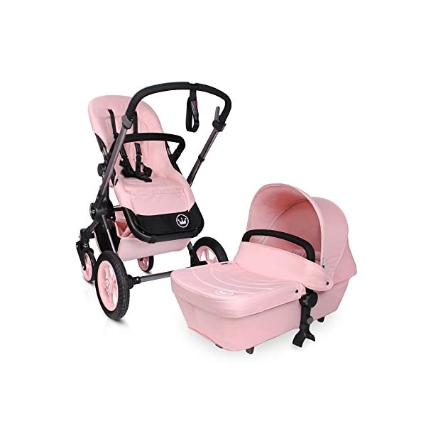 BabyAce Limited Edition Baby Stroller Duo - Pink BabyAce Includes carrycot + chair + basket + rain plastic + cot cover + hood + armrest Reclining chair in three positions and reversible Reversible and height adjustable handlebar 1