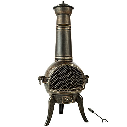 TecTake Large cast iron chiminea terrace stove 115 cm | removable grille rack | incl. poker