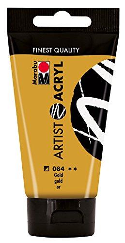 Marabu 12200002084 - Artist Acryl gold 75 ml, feine Acrylfarbe in Künstlerqualität, auf Wasserbasis, pastose Konsistenz, hoch pigmentiert, sehr gute Brillanz und Deckkraft