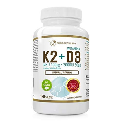 Progress Labs Vitamin K2 Mk-7 + D3 Paquete de 1 x 120 Tabletas - Coleolinciferol de Lanolina – De Natto