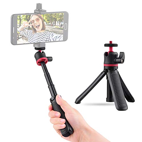 Flytise Mini Soporte Extensible para trípode de Escritorio Soporte para Selfie con Cabezal de Bola Flexible Montaje con Tornillo de 1/4 Pulgada para Viajes Vlogging Transmisión en Vivo de Video en