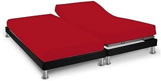 Soleil d'Ocre 616807 Drap Housse Double pour Sommier Articulé Coton 57 Fils Uni, Rouge, 2x70x190