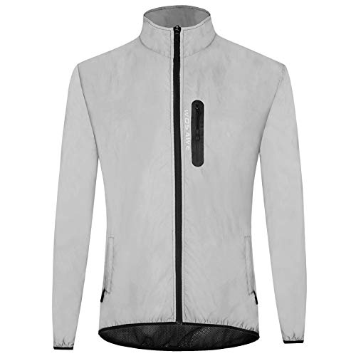 Lixada Reflektierende Jacke Unisex Jackemantel Laufjacke, Atmungsaktiv/Winddicht/wasserdichte, Outdoor Nachtsport Freizeitjacke, für Herren Damen (XL)