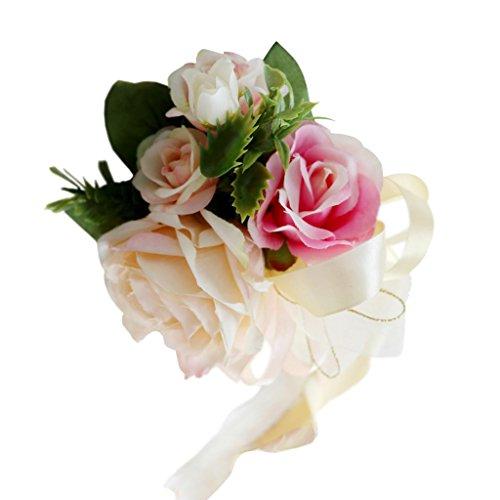 non-brand Encaje de Flor de Seda para Casamiento Adorno de Coche - Champán, 32 x 12 x 10cm