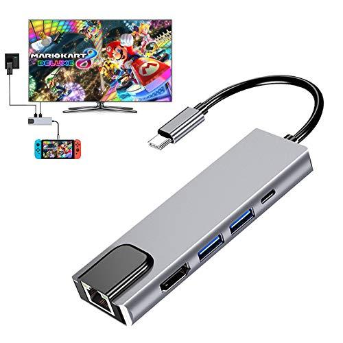 CNSL Nintendo Switch ドック Type-Cポート対応 小型 軽量 持ち運び 便利Switch Dockの代替品 5-in-1 USBマルチポート多機能 4K HDMI変換 新技術