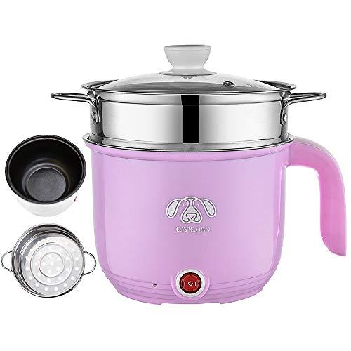 Wxvimi Electric Noodle Pot,Electric Hot Pot,Rapid Noodles Cooker, 1.8L Electric Cooker,Mini Steamer with Steaming Rack,Non-Stick Casserole, Suitable for Noodles,Eggs, Dumplings, Soup, Porridge(Pink)