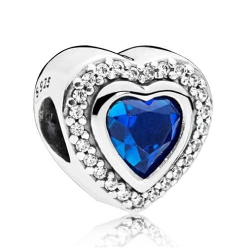 ZHANGCHEN Encanto Brillante de Plata de Ley 925, Dos Corazones de Amor Preciosos con Perlas de Cristal Azul, Pulsera de Pan, joyería DIY