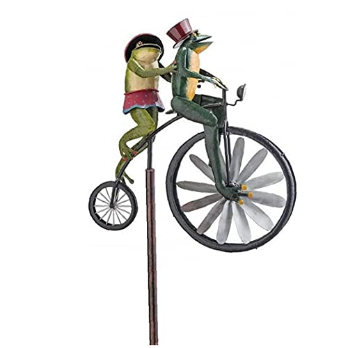 Hainice Garden Wind Spinner Vintage Bicycle Cute Frog Animal Statues Sculptures for Yard Lawn Patio Decoration