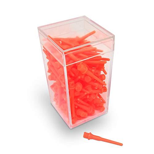 BILLARES Y DARDOS CAMARA Caja de 100 Puntas de Dardos de plástico Resistentes Colores para Diana electrónica, Rosca 2ba Apta para Dardos domésticos y Dardos Profesionales. (Naranja)