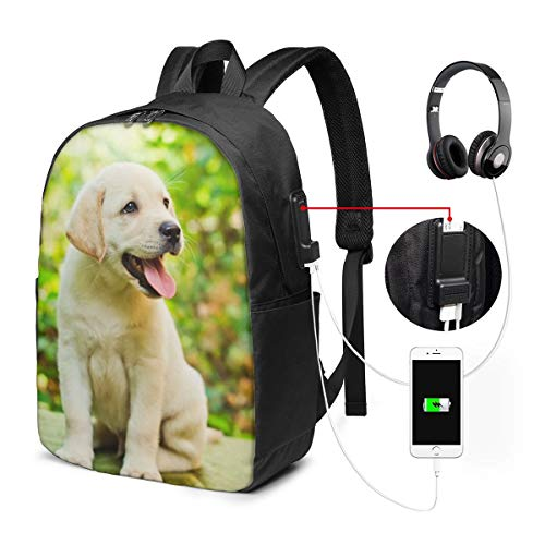 Labrador Puppy Laptop Backpack, Business Travel Work Laptop Bag with USB Charging Port, Waterproof Backpack for Girls Men Women, Anti-Theft College School Gift Backpack