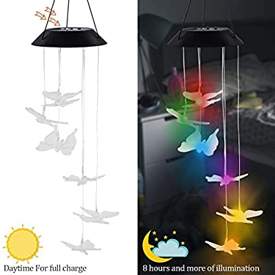 """MorTime LED Solar Butterfly Wind Chime, 25"""" Mobile Hanging Wind Chime for Home Garden Decoration, Automatic Light Changing Color (Butterfly)"""