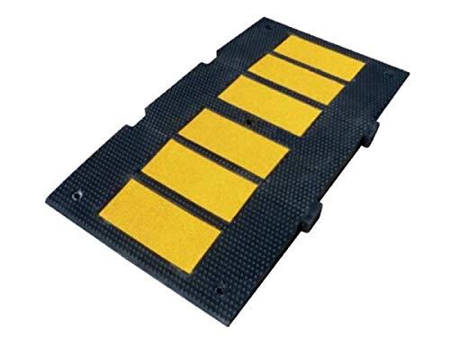PARKINGFACIL- Banda reductora de velocidad de caucho 90x50x5cm. Badén reductor de velocidad de calle. Incluye tornillería