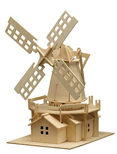 Pebaro Siva Toys873 Holzbausatz 3D Puzzle Windmühle