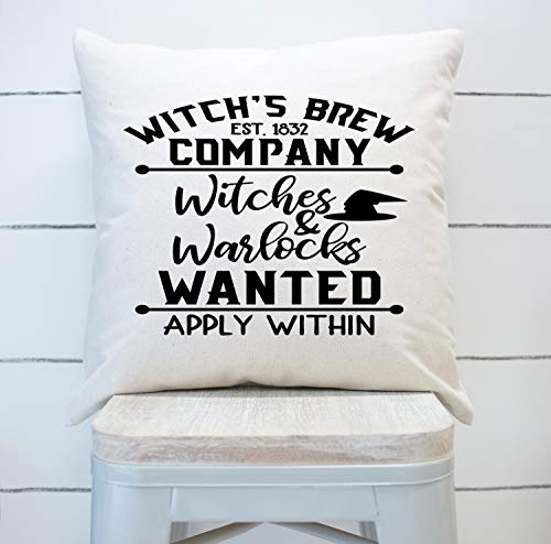 VinMea Witches Brew Company Witches and Warlocks Wanted Pillow Cover Halloween Farmhouse Fall Decor Canvas Cushion Rustic Textured Pillow Covers Gift, 16'x16'