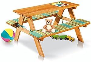 Florabest®, tavolino da bambini con panchine incorporate, trattato con prodotti ecocompatibili a base d'acqua