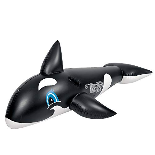 Inflatable Black and White Killer Whale Children's Pool Float Rider with Handles, 75-Inch
