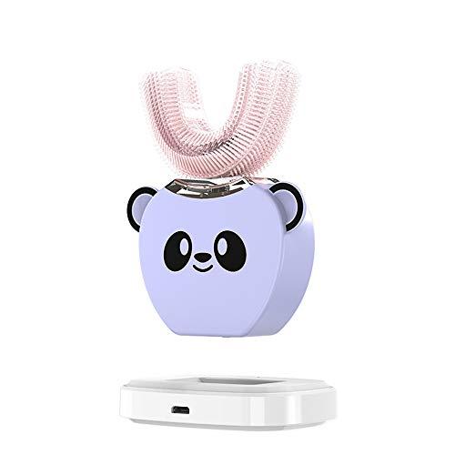 WODT Elektrische U-förmige Kinderzahnbürste, intelligente, automatische 360-Grad-Weißfärbungs-Blaulicht-USB-wiederaufladbare wasserdichte Karikatur-Zahnbürste,Lila,8to15years