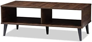 Baxton Studio Pierre Wood Coffee Table in Brown and Dark Grey