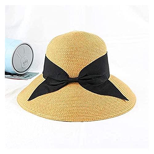 Seupeak Sombreros de Sol para señoras señoras Verano Sol Sombrero Lentes Plana Plana Grande Arco Sol Sombrero Sombrero de Paja Elegante señoras Ancho Sombrero Sombrero de Viaje