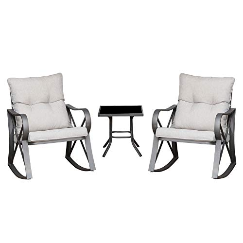 AQUILLA 3 Pieces Outdoor Patio Furniture Rocking Chairs w Metal Frame and Tempered Glass-Top Table, Thick Cushions Bistro Sets for Garden, Backyard