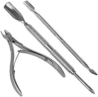 Generic Professional Cuticle Pusher 3 pcs Stainless Steel for Nail Art Exfoliating Tools Dead Skin Remover Cutter Clipper ...