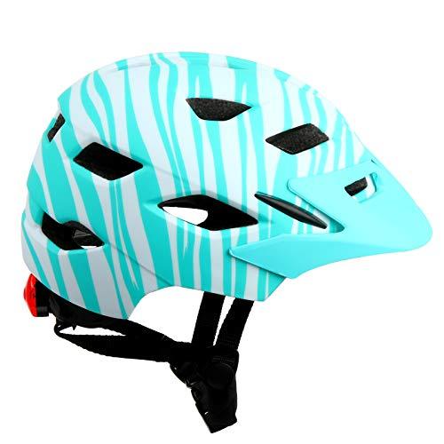MEIZI Casco de bicicleta para niños (50-58 cm, ajustable, 3-13 años de edad, rayas azules)
