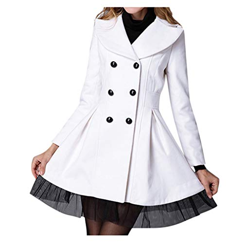Cardigo Women Flare Double Breasted Trench Jacket Ladies Long Lapel Outwear Peacoat Coat White