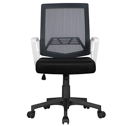 YAHEETECH Gaming Chair Mesh Computer Chair with Lumbar Support, Ergonomic Mid-Back Office Chair, Modern Swivel Office Desk for Home, Office Gray