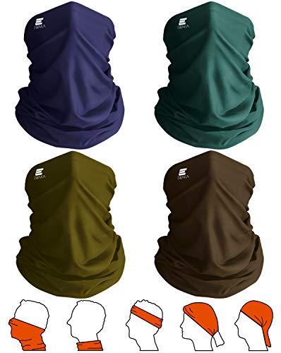 EWAKA 4 pañuelos multifuncionales lavables para la cara, polainas para el cuello, transpirables, protección solar UV, ciclismo, motocicleta, pasamontañas, hombres para actividades al aire libre (F1)