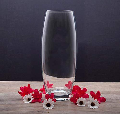 Glasvase, Transparent, KnikGlass Vase Glas Deko Blumenvase für Tischdeko und Hochzeit, Höhe 20 cm (#A)