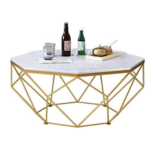 N/Z Tägliche Ausstattung Moderner Kaffee- / Cocktailtisch Weißer Marmorplatte Sofakonsole Beistelltisch Polygon Wohnzimmermöbel Beistelltisch mit schwarz/goldenem Metallrahmen