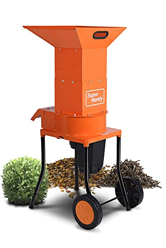 """SuperHandy Leaf Mulcher Shredder Electric Green and Waste Management Heavy Duty 120V AC 11"""" Inch Cutting Blade .5"""" Inch Cutting Capacity for Leaves, Grass, & Clippings"""