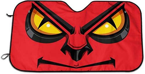 HUAZAI Cartoon Angry Face Eyes Red Mad Windshield Sun Shade Cover Car Windows Decor Sunshade Auto Ornament Visor Kit