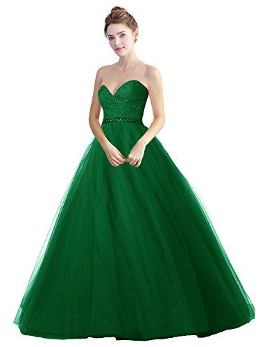 LuckyShe Damen Lang Tüll Elegant Prinzessin Ballkleider Abendkleider mit Spitze Grün Größe 40