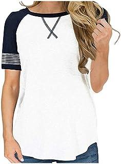 Wanxiaoyyyindx Work Blouses for Women, Raglan Sleeve Top Women Little Sleeve T-shirt Solid Tops Tee Casual Distaff T Shirt...