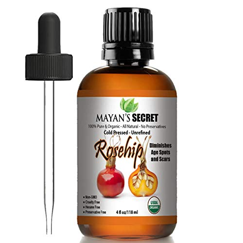 Rosehip Seed Oil by Mayan's Secret USDA Certified Organic, 100% Pure, Cold Pressed, Unrefined. Reduce Acne Scars. Essential Oil for Face, Nails, Hair, Skin. Therapeutic AAA+ Grade