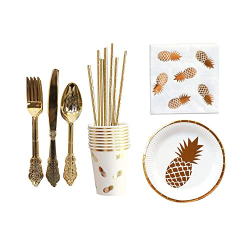 QianChen Pineapple Party Tableware Set,64PCS Tropical Party Supplies for Girl Kids Birthday Baby Shower Includes Plates Cups Napkins Straws Forks Spoons Knives Utensils Serves 8 Guests