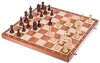SQUARE - Set de jeu d'échecs professionnel no 6 - Acajou L'échiquier est fabriqué à partir des pièces en bois: acajou / sycomore - Incrustation. Dimensions approximatives de la boîte en bois: 530 x 265 x 60 (fermé). Champ: 58 x 58 mm. Les pièces d'éc...