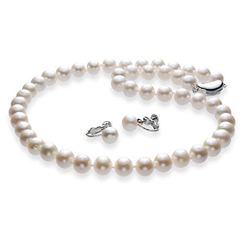 つやたま 極太 11mm 本真珠ネックレス&イヤリングセット ホワイト 品質保証 留め具 シルバー