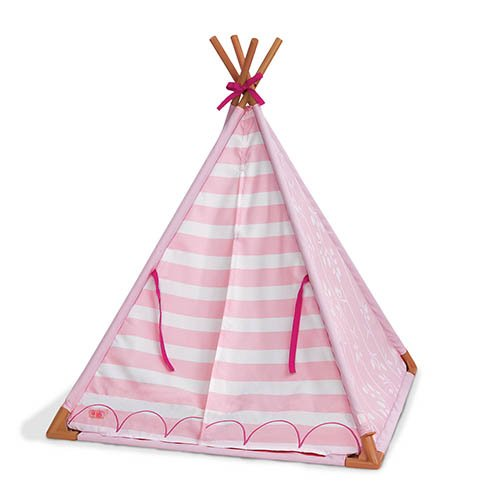 Our Generation 70.37209 Mini Suite Teepee Toy Accessories Set, Pink Striped, for A 18 inch / 46 cm Doll