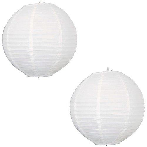 2 x 40 cm-Lanterne en Papier ronde avec nervures en fil de fer-Lot de 2