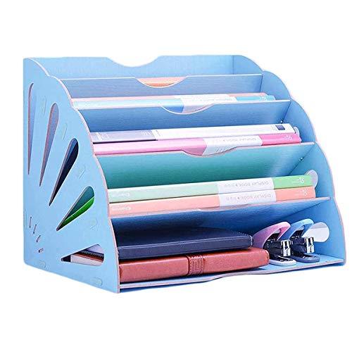 GDglobal Schreibtisch-Organizer aus Holz, Büro Dokumentenablage Papierablage Schreibtisch Ablage Organizer für Akten, Papier, Document, Brief für Zuhause Oder Büro (Blau)