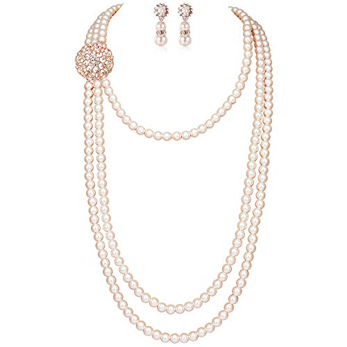 BABEYOND 1920s Gatsby Pearl Necklace Vintage Bridal Pearl Necklace Earrings Jewelry Set Multilayer Imitation Pearl Necklace with Brooch (Style 1-Rose Gold)